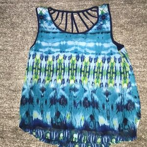 Blue and green tank top with back cut out